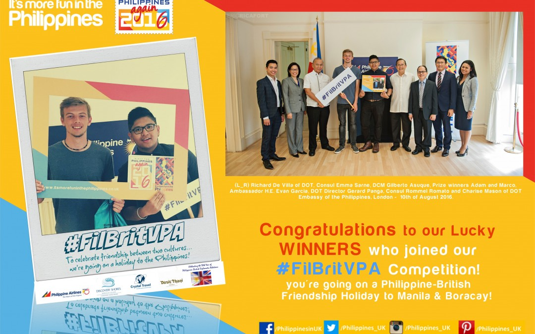 Fil-Brit Best Mates win the Philippine Luxury Holiday Competition in celebration of the Visit the Philippines Year 2016 and the 70th year of the Philippine-British Diplomatic Relationship