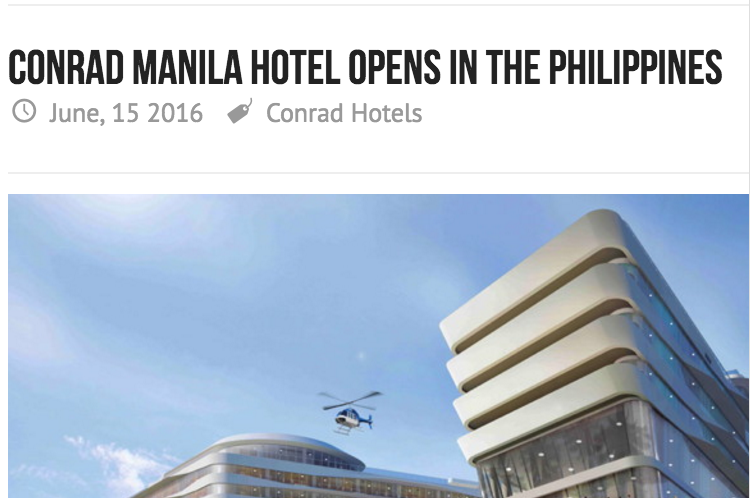 Conrad Manila Opens in the Philippines
